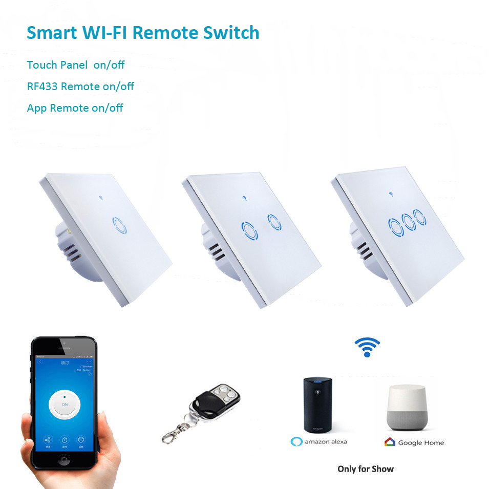 eWelink EU Type 1 2 3 Gang Wifi & RF433 Control Switch via Android IOS,Wireless Control Light Touch Wall Switch work with Alexa eu us smart home remote touch switch 1 gang 1 way itead sonoff crystal glass panel touch switch touch switch wifi led backlight