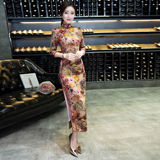 c5620156e78c Cheongsam Modern Qipao Long Chinese Traditional Dress Summer Women Clearance  Markdown On Sale Low Surprise Price At A Loss
