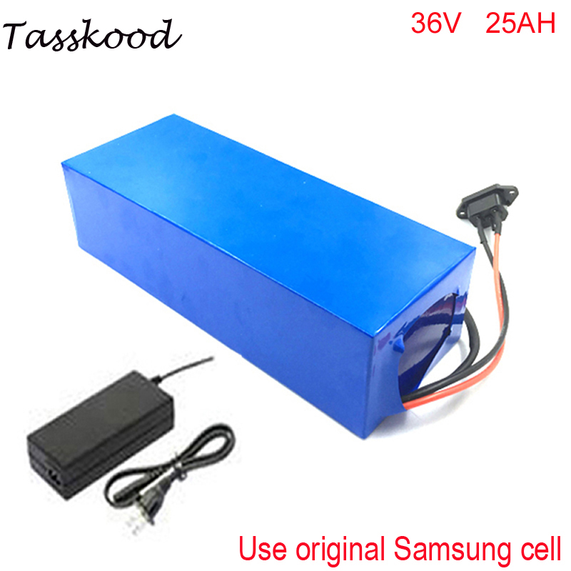1000w 36v Electric bike battery scooter 36V 25AH Li-ion Battery with Case,BMS and Charger 1000 times cycles For Samsung Cell стоимость