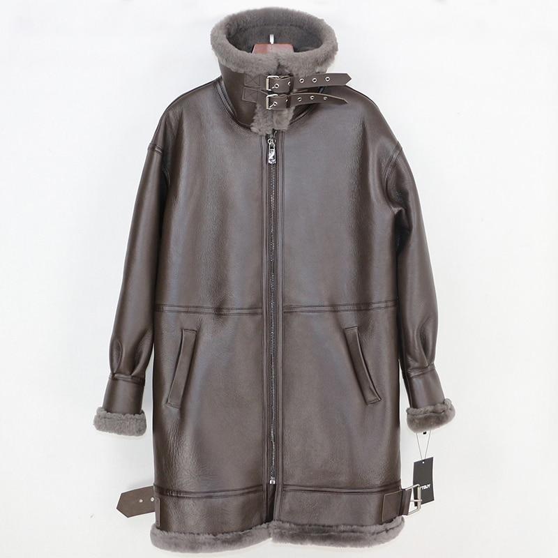 OFTBUY 2019 Winter Jacket Women Real Fur Coat Genuine Leather Natural Merino Sheep Fur Liner Double-faced Fur Streetwear parka