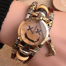 Top Genuine Leather Women Watch Triple Bracelet Stainless Wristwatch Smiling Face Boot Charm Fashion Quartz Clock A556