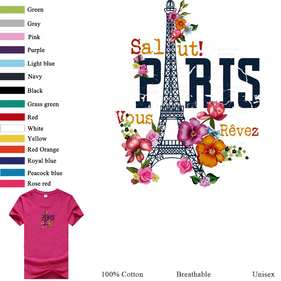Eiffel Tower T-Shirt Plus Size Funny Lovely Top Multicolor Basic Oversized Shirts Women Street Wear Fashion Clothes T Shirt Tee