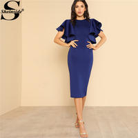 Sheinside 2018 Party Dress Round Neck Butterfly Sleeve Ruffle Zipper Bodycon Dress Women Elegant Short Sleeve Pencil Dress