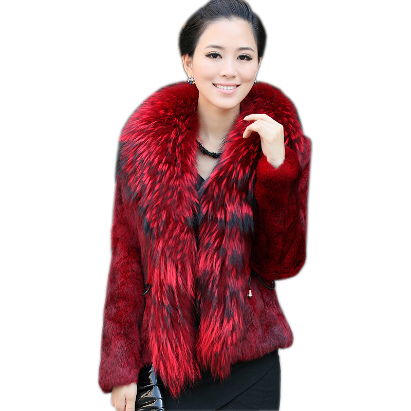 Free Shipping Genuine Rabbit Fur Coat with big collar natural rabbit fur jacket Women short Rabbit Fur coat with raccoon-in Faux Fur from Women's Clothing    1