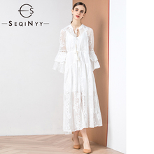 SEQINYY White Dress 2020 Summer Spring New Fashion Design 3/4 Sleeve Ruffles Flowers Embroidery Long Elegant  Loose