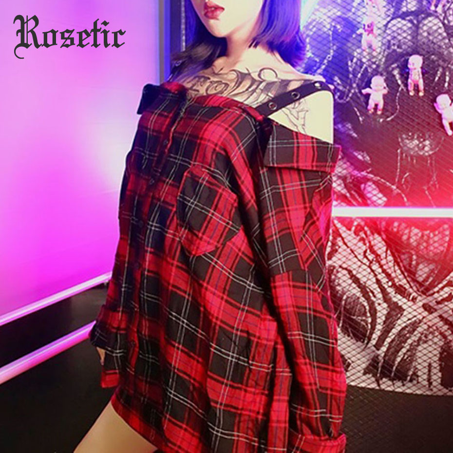 Rosetic Gothic Women Plaid Shirts Retro Womens Strap Tops And Blouses Red Striped Blusa Feminina Blusas Mujer Off The Shoulder