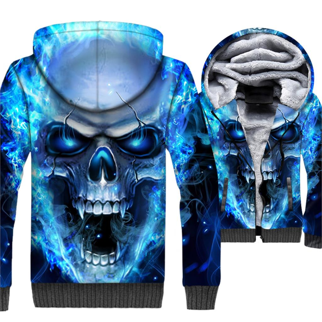 Brand Clothing 2018 3D Blue Skull Hoodies Hip Hop Thick Sweatshirts Anime Unisex Coat Male Streetwear Men 39 s Winter Zipper Jacket in Hoodies amp Sweatshirts from Men 39 s Clothing