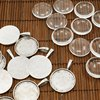 10Sets 25mm Transparent Clear Domed Glass Cabochon Cover For Photo Pendant Making With Antique Silver Alloy