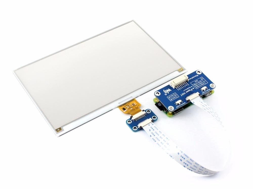 Image 3 - 7.5inch e Paper HAT (C) 640x384 E ink Display Module Three color SPI interface compatible with Raspberry Pi 3B/3B+/Zero/Zero W-in Demo Board from Computer & Office