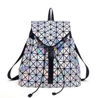 Casual Travle Bags Hologram Geometric Foldable Backpack Lattice Diamond Bag Shoulder School Bag Quilted Bao Bao