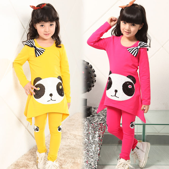 Free shipping Hot-selling Spring cotton candy color sequins panda suits of the girls the power of benefits selling