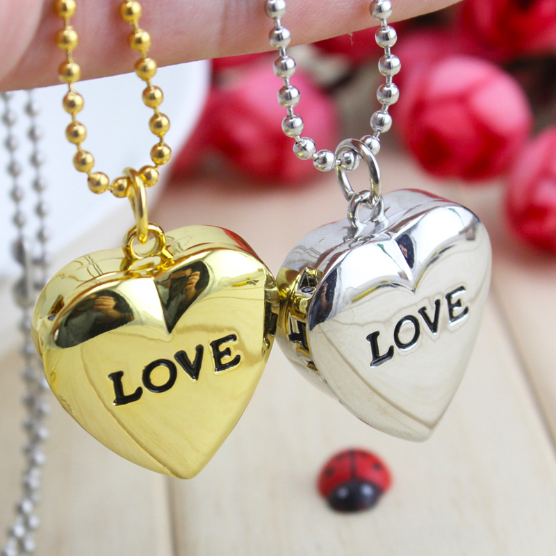 2018cyd Women Lovers Girls Quartz Heart Watch Gold Sliver Flip Couples Watch Students Necklace Pocket Watch Personal Jewelry