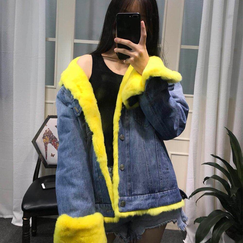 Épais pink Parka Rex Fourrure Luxe White Manteau Veste Bas D'hiver Femmes Chaud Casual Streetwear purple Le De Denim Naturel Lapin Vers blue Marque Vraie yellow dtshQrCx