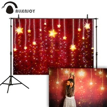 Allenjoy Christmas photographic backgrounds red glitter shiny stars party photo studio camera fotografica photophone vinyl