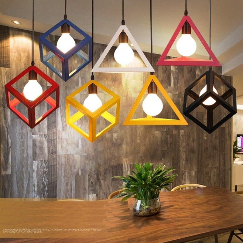 LuKLoy lámpara de luces, moderno colorido triángulo marco cubo lámpara LED para cocina isla Luminair decoración del restaurante
