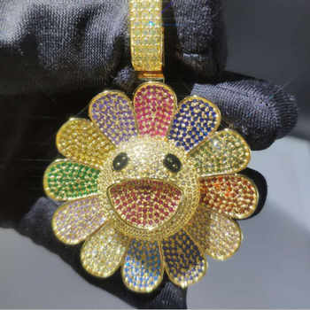 Hip Hop 3A Zircon Rotatable Smile RotationTakashi Murakami Sunflower Necklace Insert Drill Iced Out Pendant Silver Pink Blue - DISCOUNT ITEM  20% OFF All Category