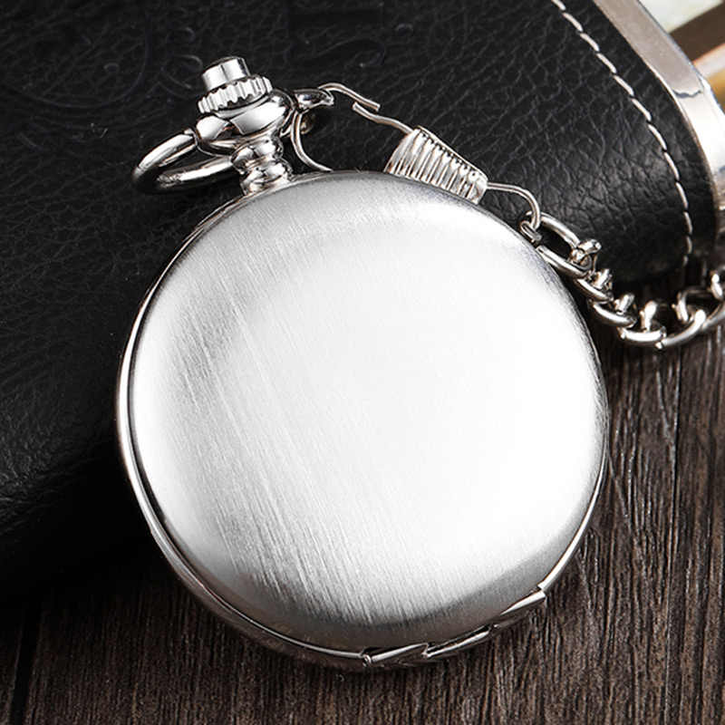 Silver Steel Smooth Case Hand-winding Mechanical Pocket Watch Roman Numerals Dial Fob Chain Watch Men Women Pendent Steampunk
