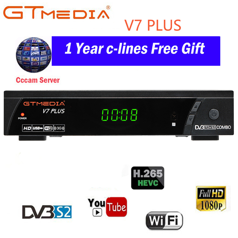 100% Original 2019 New Arrival GTMEDIA V7 PLUS DVB-S2 DVB-T2 Satellite Apoio Receptor de TV Combo H.265 + Cccam Espanha Itália 4 Cline