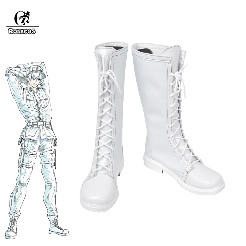 ROLECOS Hataraku Saibou Cosplay Shoes Cells At Work Leukocyte Boots Cosplay Men Shoes White Boots