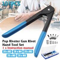 107pcs/Set M3/M4/M5 /M5/M8 Blind Rivet Gun Threaded Insert Hand Riveting Kit Nutsert Rivet Nuts Nail Gun Household Repair Tool
