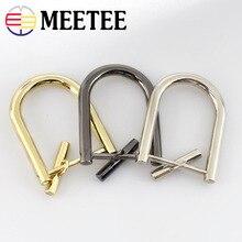 2sets MEETEE bag hardware belts removable screws D buckle light golden 2.8 cm for belt