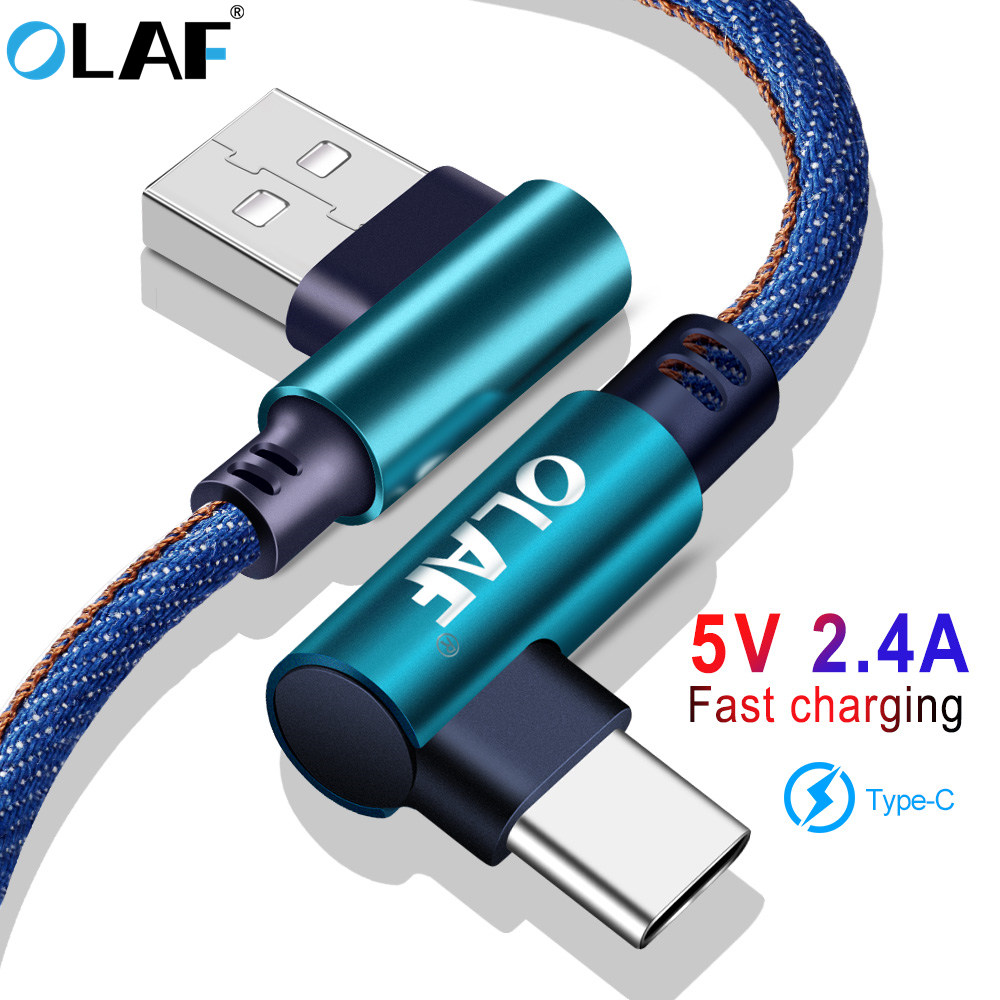 Cable USB tipo C Olaf, codo de 90 grados para Samsung Galaxy S9 S8 Plus, Cable cargador USB para Xiaomi redmi note 7 Oneplus 6t, USB C