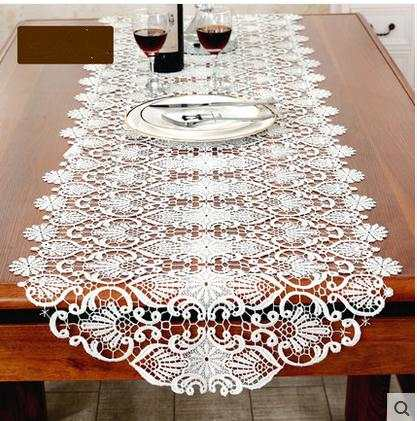 Online Shop Home White Embroidered Table Runner Coffee Cloth Tv