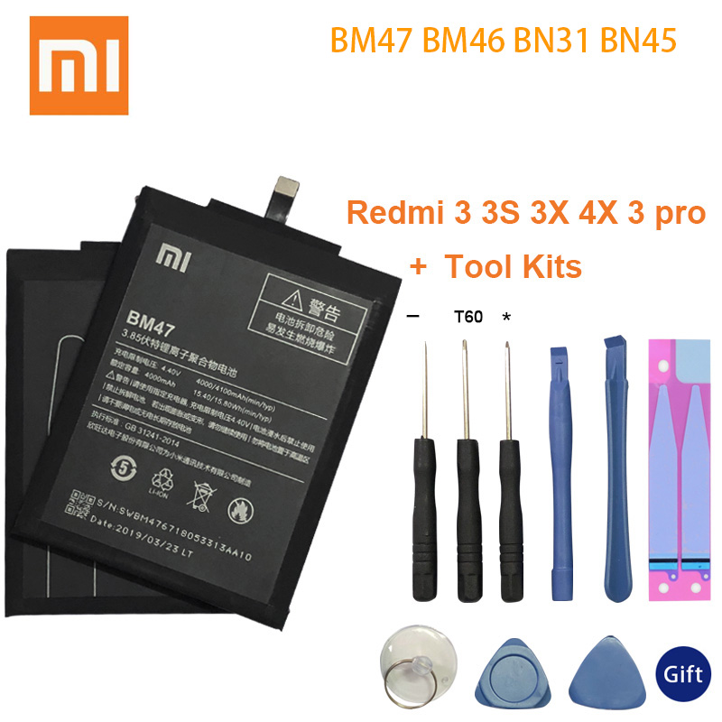 Xiao <font><b>Mi</b></font> Original Phone <font><b>Battery</b></font> BM47 For Xiaomi Redmi 3 3S 3X <font><b>4X</b></font> 3 pro Note 3 5 5A Pro <font><b>Mi</b></font> 5X BM46 BN31 BN45 Replacement <font><b>Batteries</b></font> image