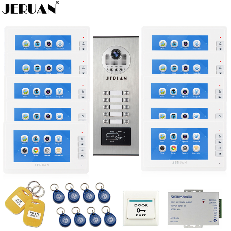 JERUAN 7`` LCD Video Intercom Door Phone Record system RFID Access Entry Security Kit For 10 Apartments Camera to 10 Household jeruan 7 inch video door phone record intercom system rfid access entry security kit for 4 apartment camera to 4 household