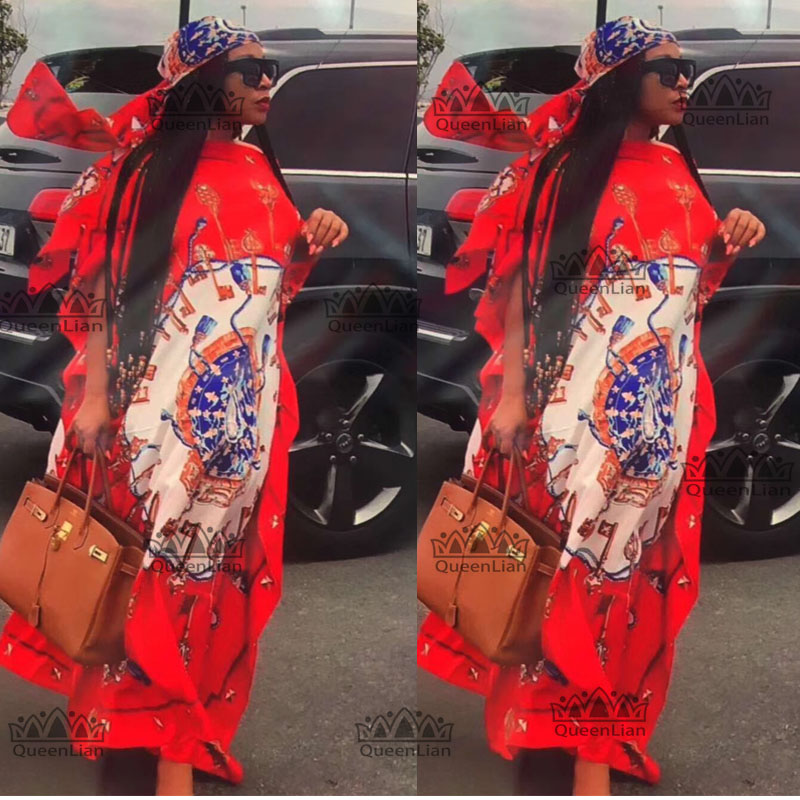 Ength:135cm,Bust:128cm Free Size NewFashion Chiffon Super Size African LooseLong Dashiki Traditional Party Dress For Lady DBF02