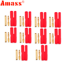 10pair AMASS 2 0mm Banana Gold Plated Bullet Connector Plugs With Belt Sheath For RC Connectors