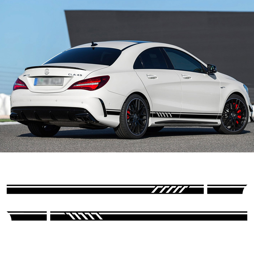 Edition 1 Style Sport Door Side Stripes Skirt Decal Sticker for Mercedes Benz W117 C117 X117 W176 CLA45 CLA200 CLA Class AMG for benz cla c117 w117 inner door window switch button cover 2014 2017 14pcs