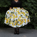 Big Sale! 1950 s amarelo lemon impressão saia de cintura alta plissada saias vintage midi saia das mulheres plus size faldas saia jupe