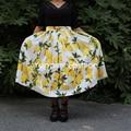Big Sale! 1950s Yellow Lemon Print Skirt High Waist Pleated Full Skirts Vintage Midi Women Skirt Plus Size faldas saia jupe
