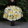 Venta grande! 1950 s Amarillo Limón Imprimir Falda de Cintura Alta Plisado Largo Maxi Falda Más El Tamaño faldas Faldas de La Vendimia falda retro princesa