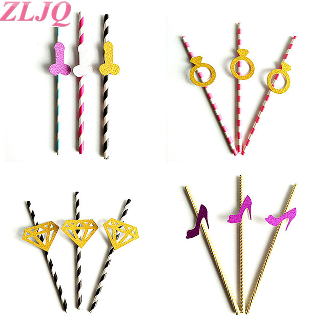 ZLJQ 25pcs/lot Bachelorette party Diamond Ring Penis Shape Straw Drinking Willy Penis Straws Hens night straw Wedding Decoration