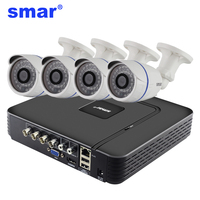 Smar 4CH CCTV HDMI DVR 4PCS 720P AHD Camera IR Weatherproof Outdoor Home Security System Video