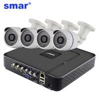 Smar 4CH CCTV HDMI DVR 4PCS 720P AHD Camera IR Weatherproof Outdoor Home Security System Video