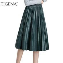 811c91771dbc TIGENA High Waist Pleated Pu Faux Leather Skirt Women 2018 Autumn Winter  Elegant Midi Long Skirts Female Black Red Leather Skirt