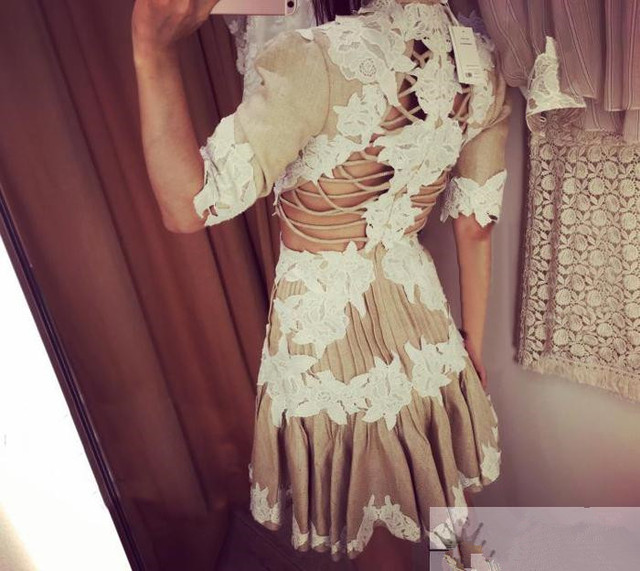5b7a9d9813 Luxury Zimmermann Sexy Backless Flower Mischief Rosette Laced Dress Chic  Women's Floral Linen Pleated Night Party Dress S124