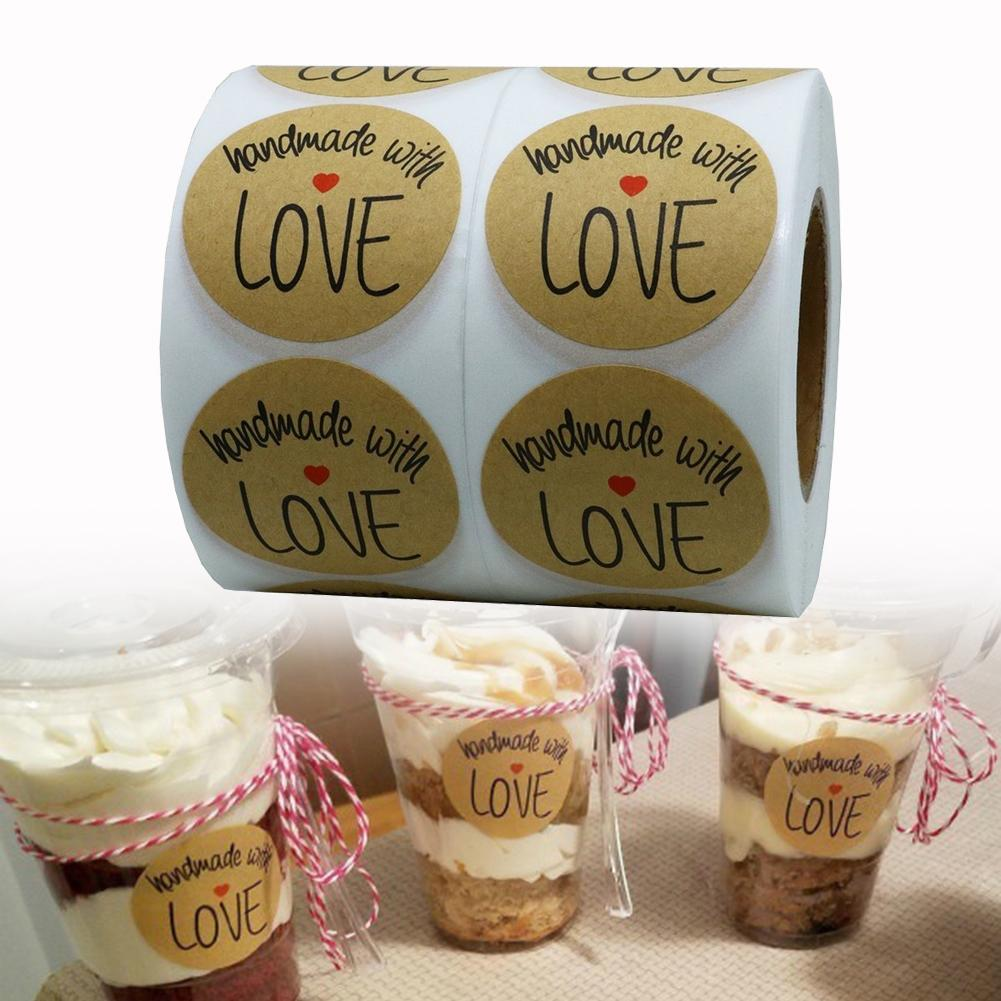 500Pcs Self-Adhesive Handmade with Love Kitchen Baking DIY Paper Sticker Label decor(China)
