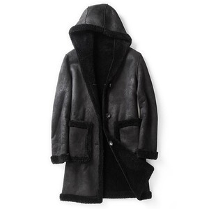 Image 4 - Winter Men Hoodie Shearling Jacket Wool Lining Warm Mid Long Real Fur Coat Slim Fit Business Man Suede Leather Jackets M 5XL