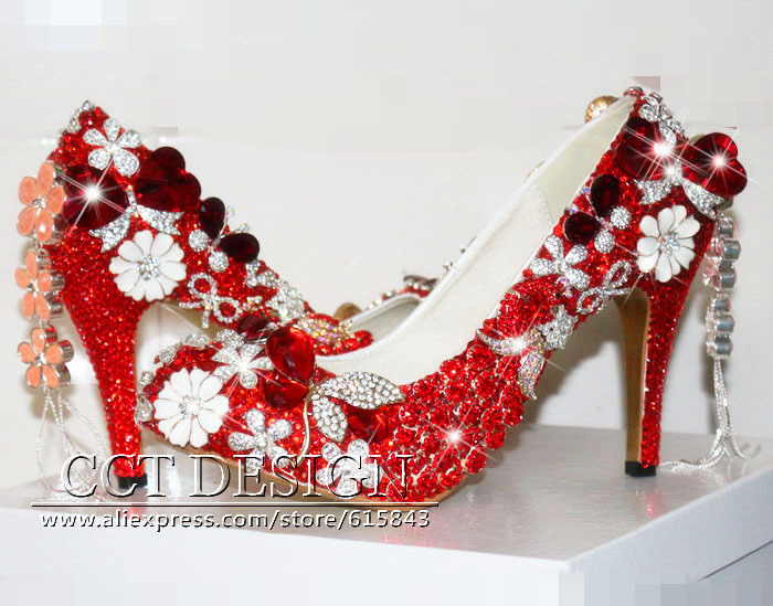 Chs221 Geous Red Crytal Rhinestones Bridal Wedding Shoes
