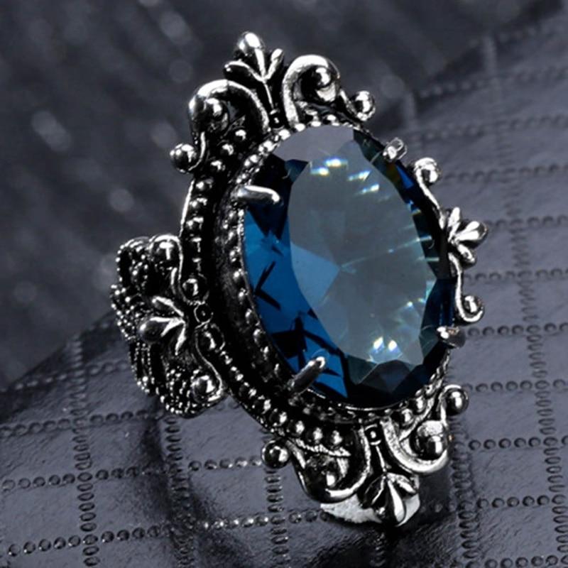 MoAndy Green Gemstone Wedding Moon Stone Jewelry Fashion Band Ring for Her Birthday