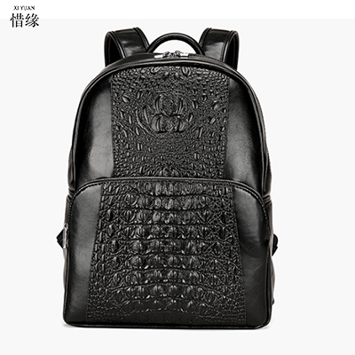 male High Quality Genuine Leather Backpack Fashion Men Crocodile pattern Travel laptop Bags School Bag Brand Design Backpacks