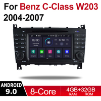 2 Din Car Multimedia Player Android 9 Auto Radio For Mercedes Benz C Class W203 2004~2007 NTG DVD GPS 8 Cores 4GB+32GB Bluetooth
