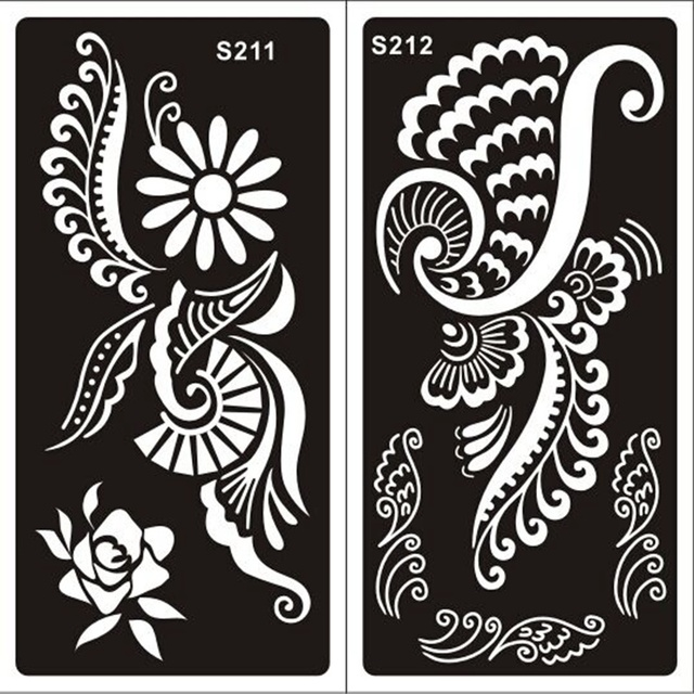 20pcs Mehndi Indian Henna Tattoo Stencils,Temporary Glitter Airbrush Henna Tattoo Hand Finger Templates Stencil For Painting