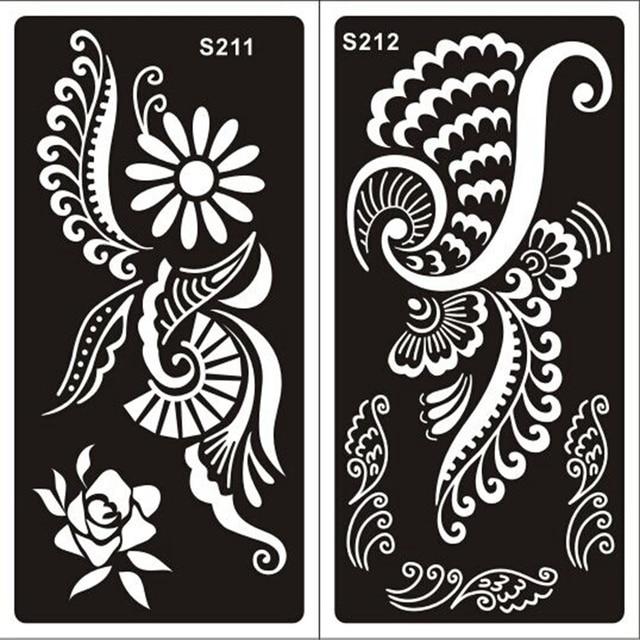 buy 20pcs mehndi indian henna tattoo stencils temporary glitter airbrush henna. Black Bedroom Furniture Sets. Home Design Ideas