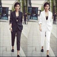 Высокое качество для женщин формальный комплект женские офисные повседневная обувь женские брючные костюмы элегантный деловой костюм сти