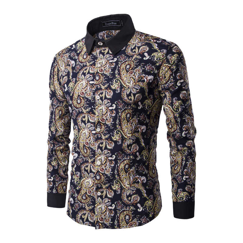 2016 mens casual shirts mens long sleeve slim fit paisley for Patterned dress shirts for men